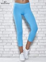 Niebieskie legginsy sportowe z dżetami na dole nogawki                                                                          zdj.                                                                         1