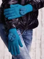 Oliwkowe rękawiczki z kokardką i długim ściągaczem                                                                          zdj.                                                                         3