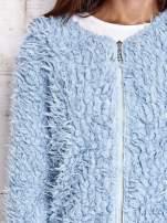 Turkusowy futrzany sweter kurtka na suwak                                  zdj.                                  7