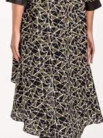 Wzorzysta sukienka mgiełka ze skórzanymi wstawkami                                                                          zdj.                                                                         7