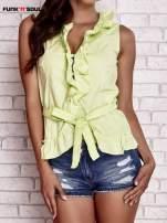 Zielona koszula z wiązaniem i falbankami FUNK N SOUL