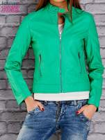 Zielona skórzana kurtka o klasycznym kroju                                  zdj.                                  1