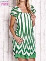 Zielona sukienka w paski z bufiastymi rękawkami                                  zdj.                                  3