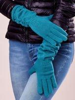 Zielone długie rękawiczki z marszczonym ściągaczem                                   zdj.                                  2