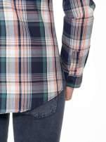 Zielono-granatowa koszula w kratę z kieszeniami                                  zdj.                                  10