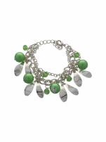 Zielono - srebrna Bransoletka z zawieszkami                                  zdj.                                  2