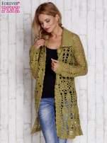Zielony długi sweter na guziki                                  zdj.                                  6