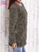Grafitowy futrzany sweter kurtka na suwak