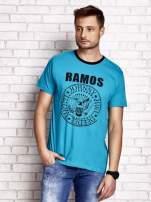 Zielony t-shirt męski z napisem RAMOS i nadrukiem                                  zdj.                                  1