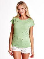 Zielony t-shirt z kolorowymi perełkami                                  zdj.                                  1