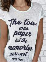 Zielony t-shirt z napisem THE TOWN WAS PAPER BUT THE MEMORIES WERE NOT PAPER TOWNS                                  zdj.                                  5