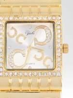 Złoty prostokątny zegarek damski na brancolecie z cyrkoniami
