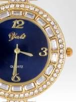 Złoty zegarek biżuteryjny z granatową tarczą i cyrkoniami                                  zdj.                                  6