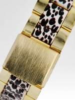 Złoty zegarek damski na bransolecie z motywem panterkowym                                  zdj.                                  4