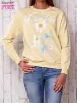 Jasnoróżowa bluza z nadrukiem kwiatowym i napisem                                                                          zdj.                                                                         1
