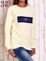 Żółta bluza z napisem LOVELY                                  zdj.                                  3