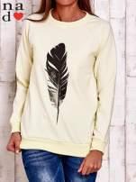 Ciemnoszara bluza z piórkiem                                                                          zdj.                                                                         1