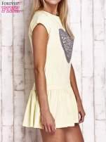 Żółta dresowa sukienka tenisowa z aplikacją serca