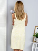Żółta kwiatowa sukienka z trójkątnym dekoltem                                  zdj.                                  2