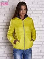 Żółta ocieplana kurtka z kontrastowym wykończeniem kaptura                                  zdj.                                  1