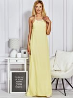 Żółta sukienka maxi z wiązaniem na szyi                                                                          zdj.                                                                         2
