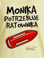 Żółty t-shirt damski MONIKA POTRZEBUJE RATOWNIKA by Markus P                                  zdj.                                  2