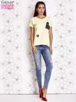Żółty t-shirt z motywem serca i kokardki                                                                          zdj.                                                                         2
