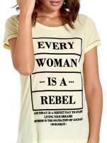 Żółty t-shirt z napisem EVERY WOMAN IS A REBEL                                  zdj.                                  5